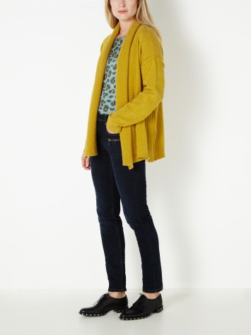 Strickjacke mit Schalkragen - Spicy Yellow /