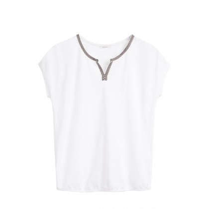 Top mit Texturmuster - Pure White /