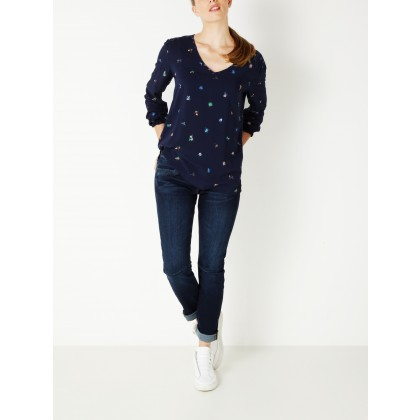 Top mit Blumenprints - True Blue /