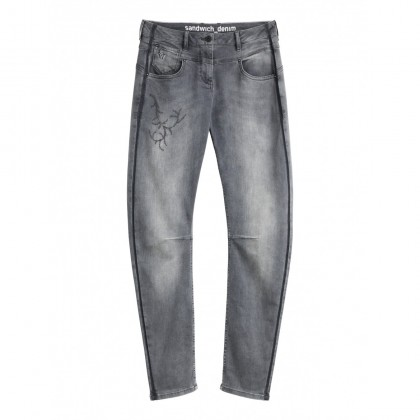 Verona Jeans mit Stickerei - Grey Denim /