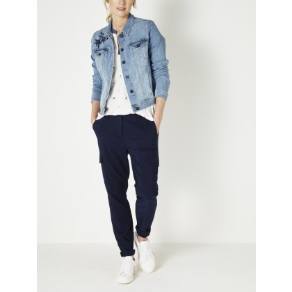 Skinny mit Blumenstickerei - Light Blue Denim /
