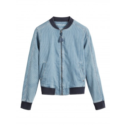 Denim Bomberjacke mit Streifen - Medium Blue Denim /