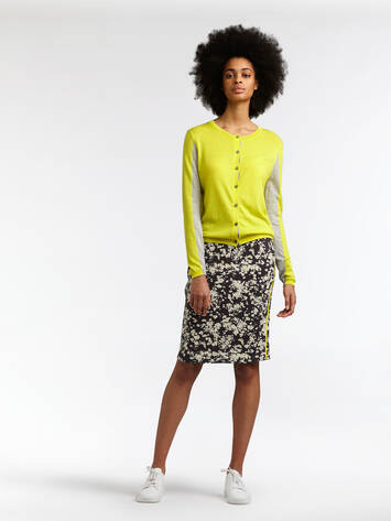 Colour Block Strickjacke - Blazing Yellow /