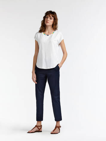 T-shirt with multicoloured rib-knit piping - Pure White /