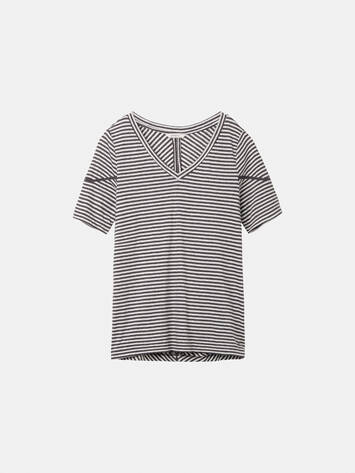 Striped T-shirt with openwork details /