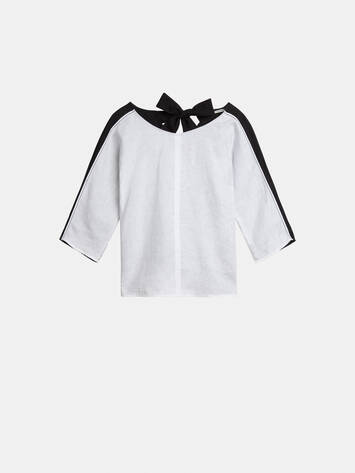 Colour Block Top mit Bindeverschluss - Pure White /