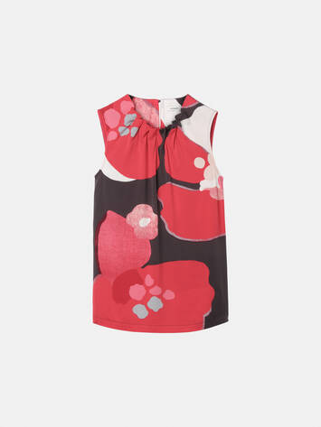 Gathered top with floral print /