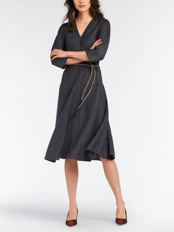 Midi dress with cord in the waist /