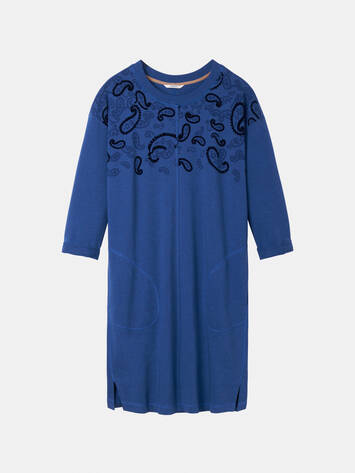 Sweater dress with paisley flock pattern /
